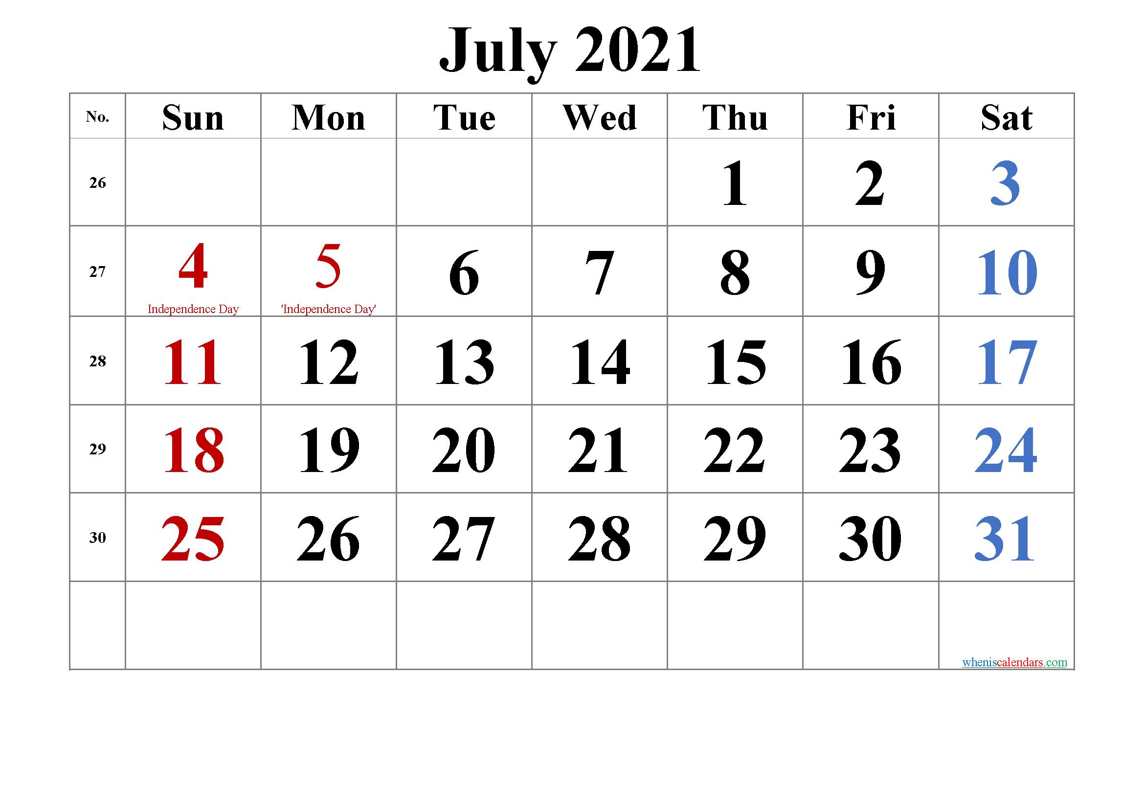 July 4 2021 Calendar   Printable Calendars 2021