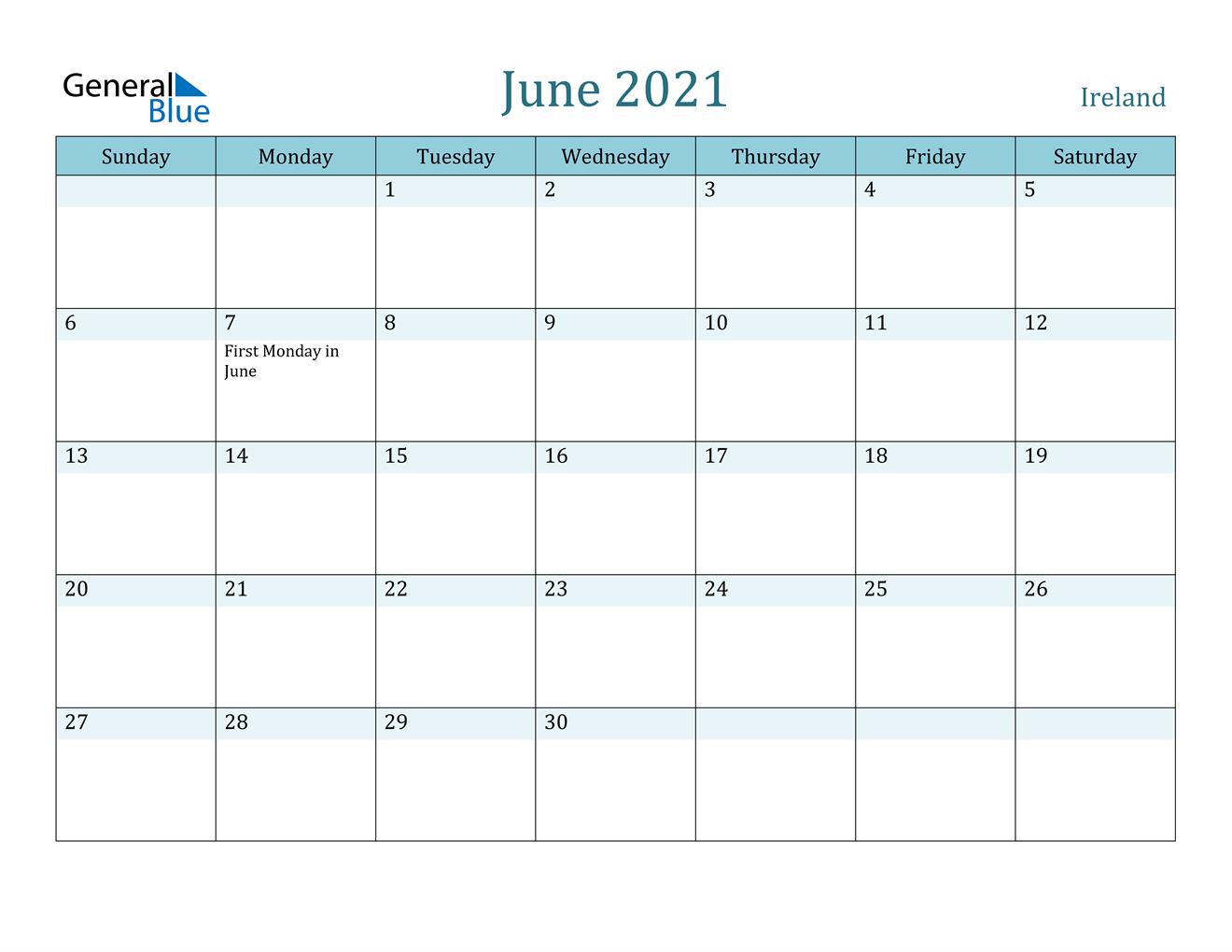 June 2021 Calendar - Ireland