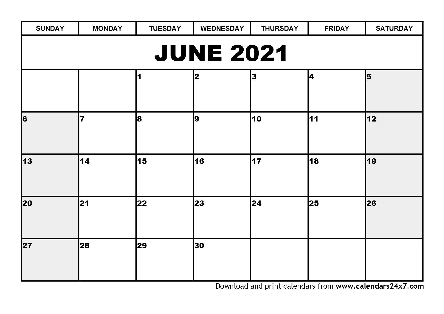 June 2021 Calendar & July 2021 Calendar