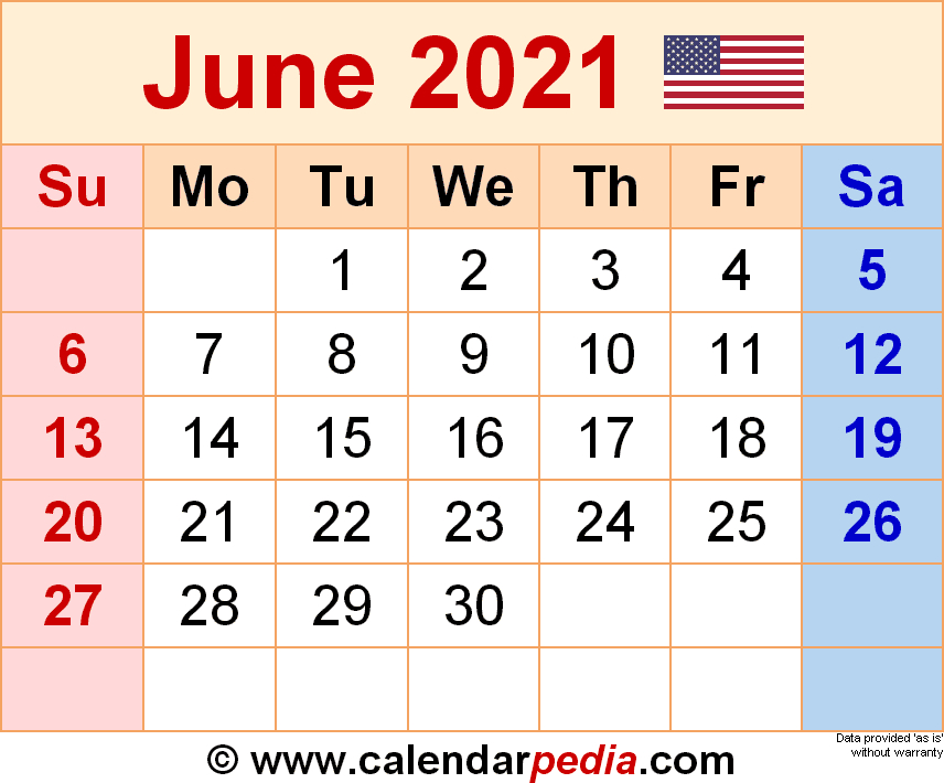 June 2021 Calendar | Templates For Word Excel And Pdf