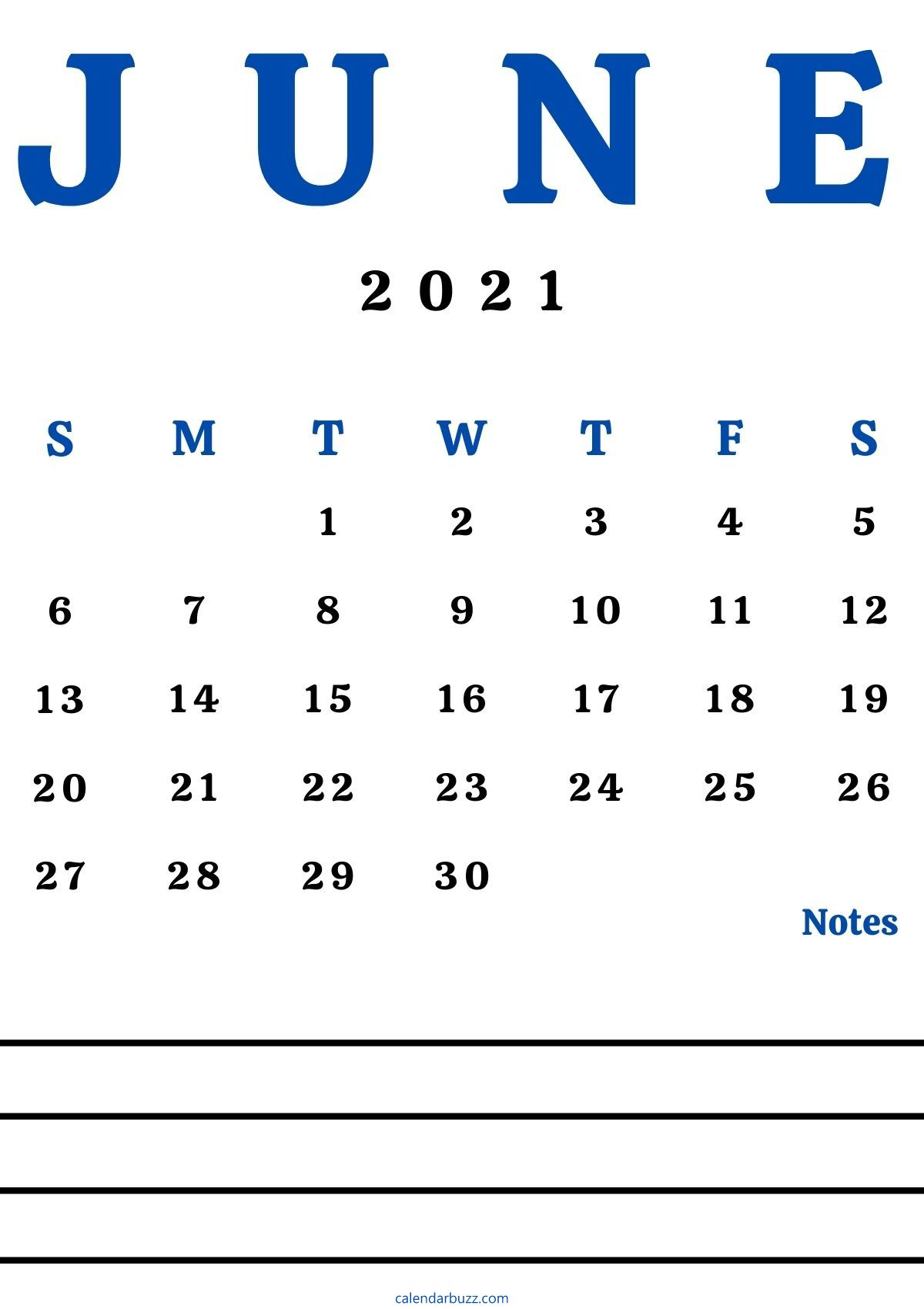 June 2021 Calendar With Space For Notes Free Download
