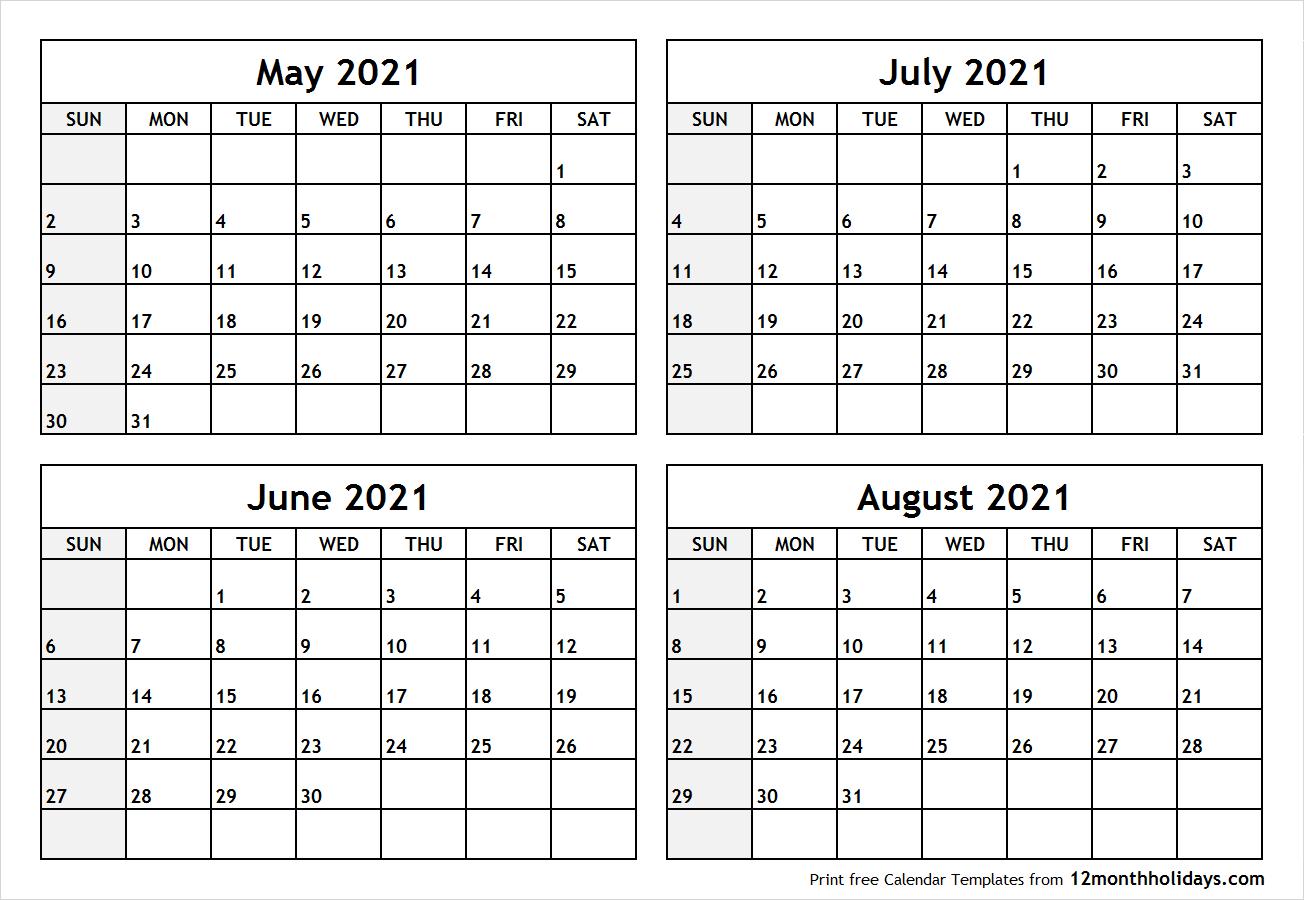 June July August Calendar Template | Example Calendar