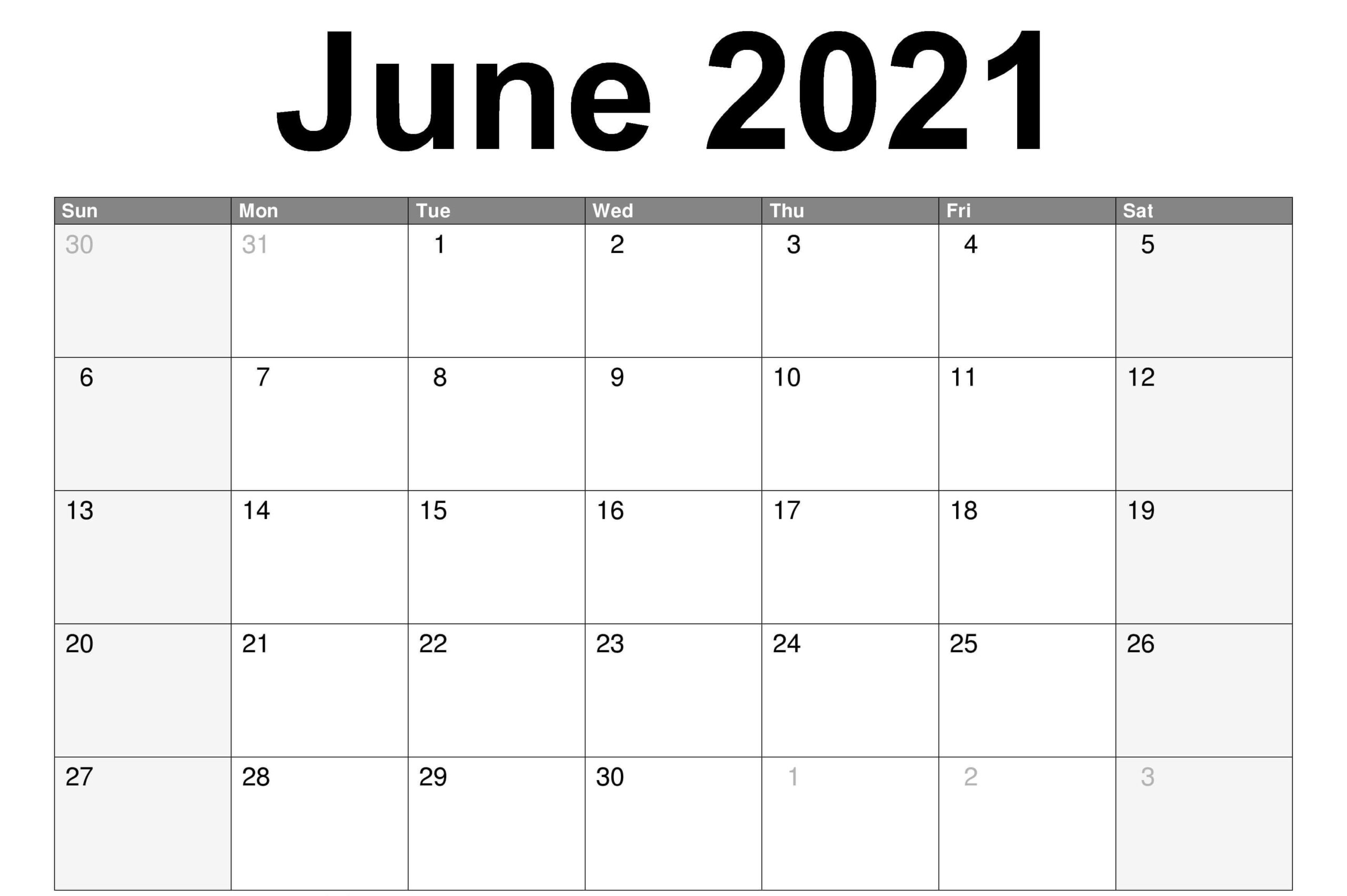 June Printable Calendar 2021 | Holiday Words Calendar