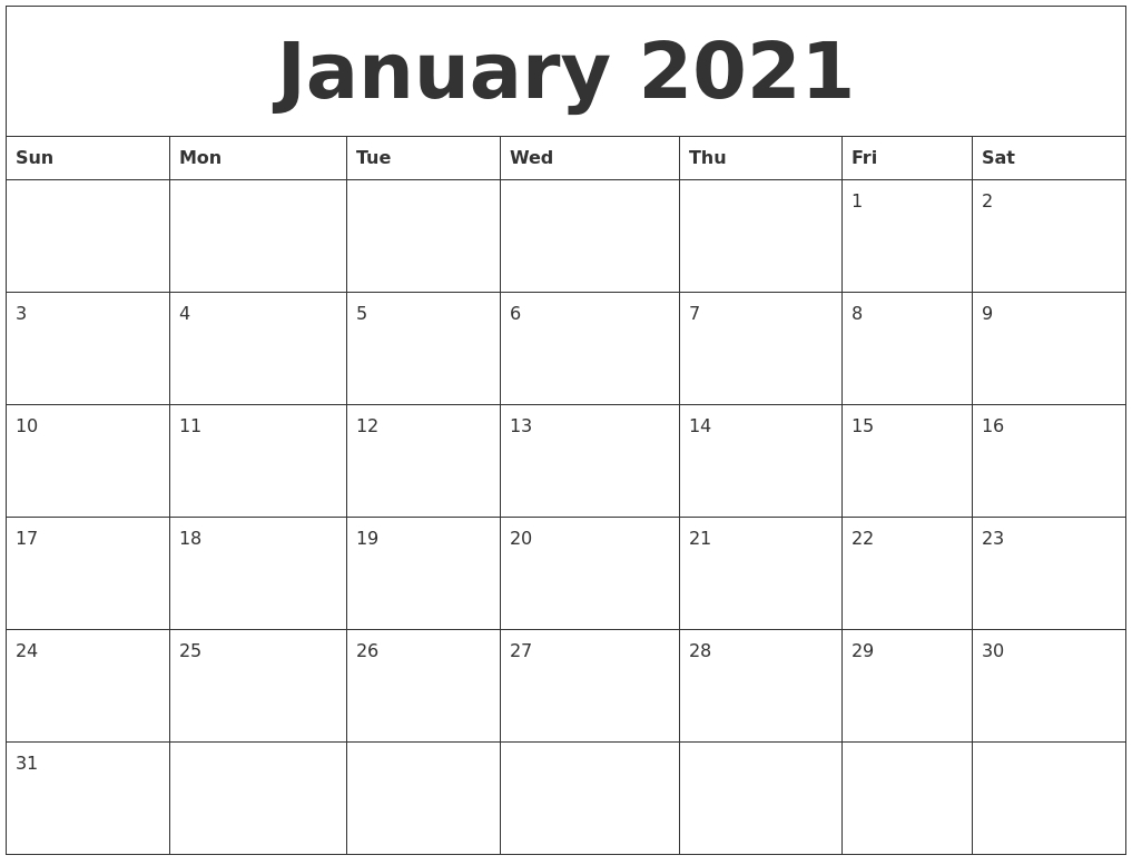 Large Calendar 2021 Printable | Calendar Printables Free