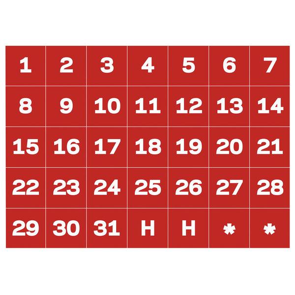 Mastervision Bvcfm1209 Calendar Dates (1-31) Red  White
