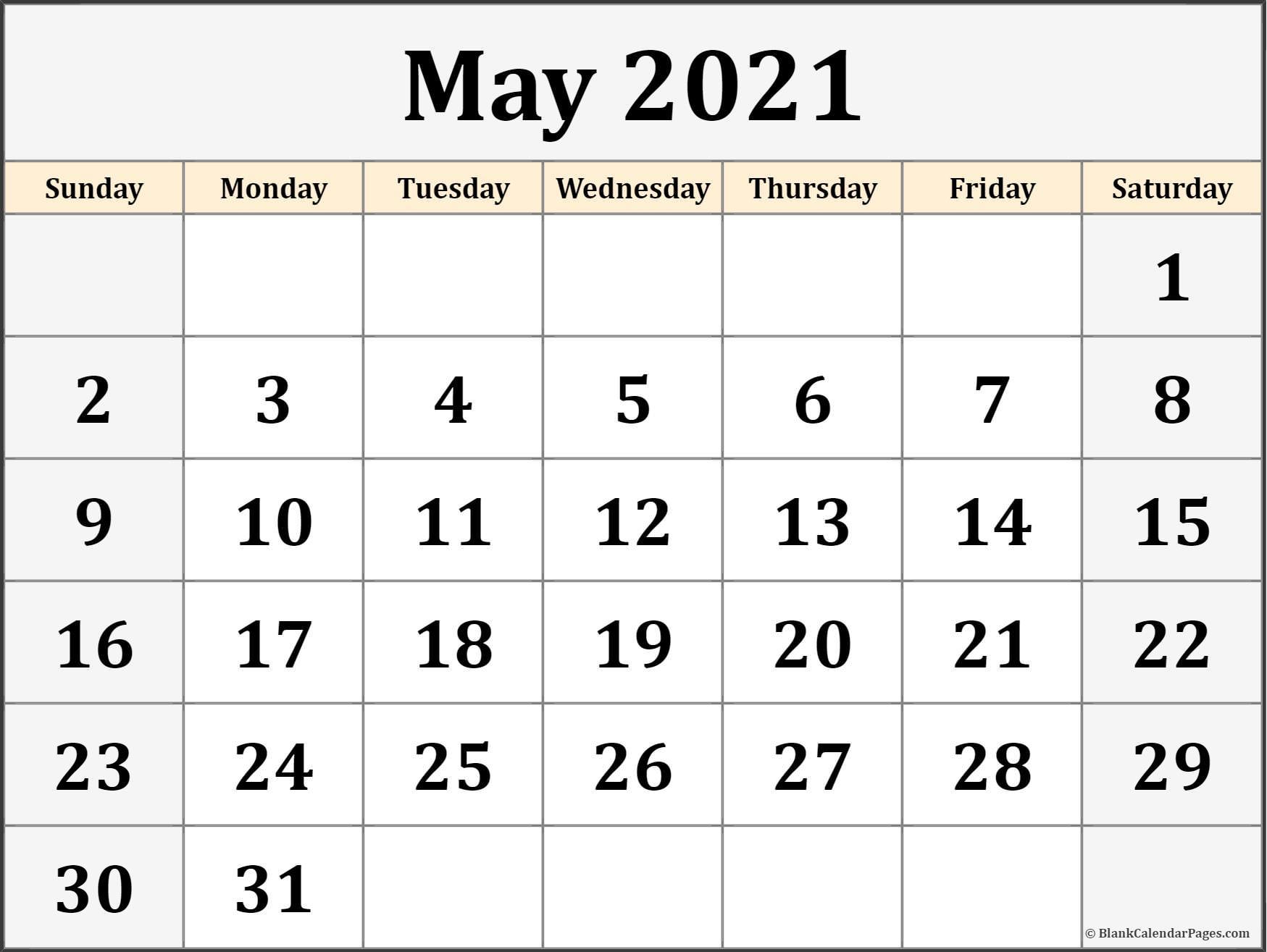 May 2021 Blank Calendar Templates.