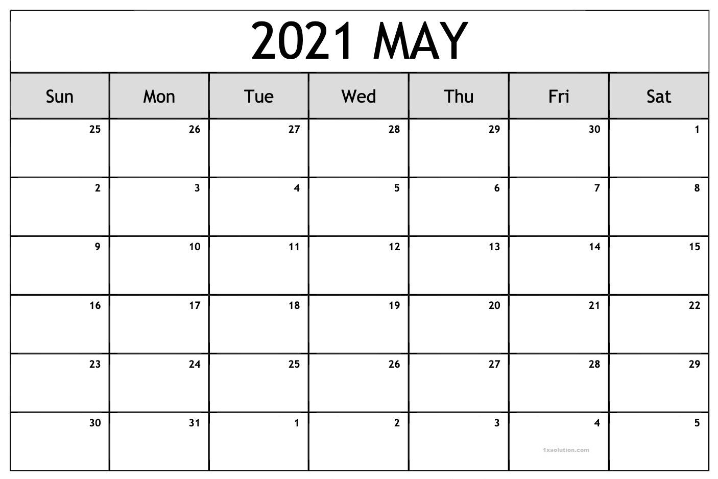 May 2021 Calendar Blank New Design   Calendar
