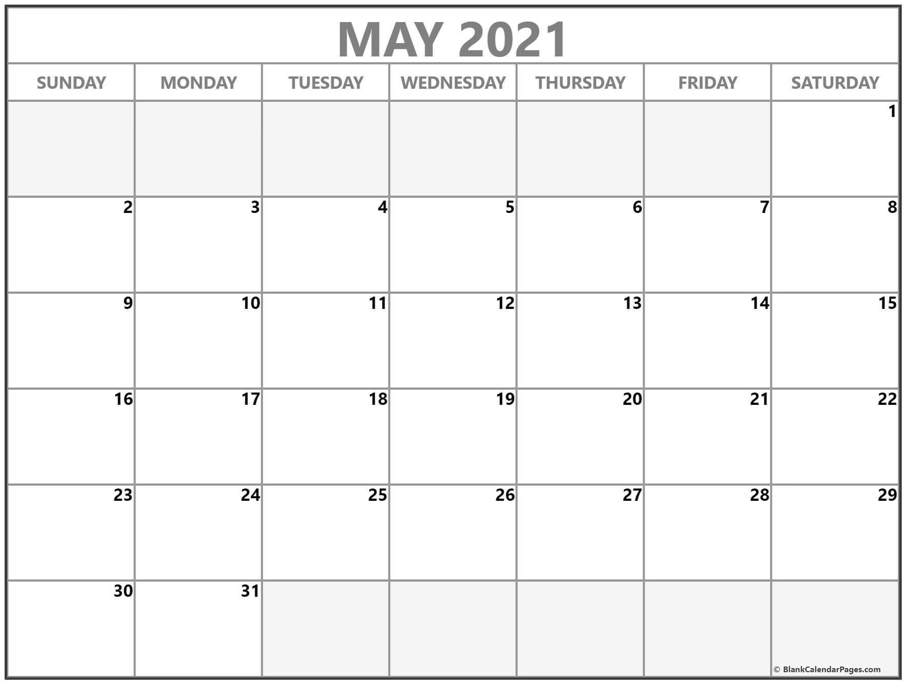 May 2021 Calendar | Free Printable Calendar Templates