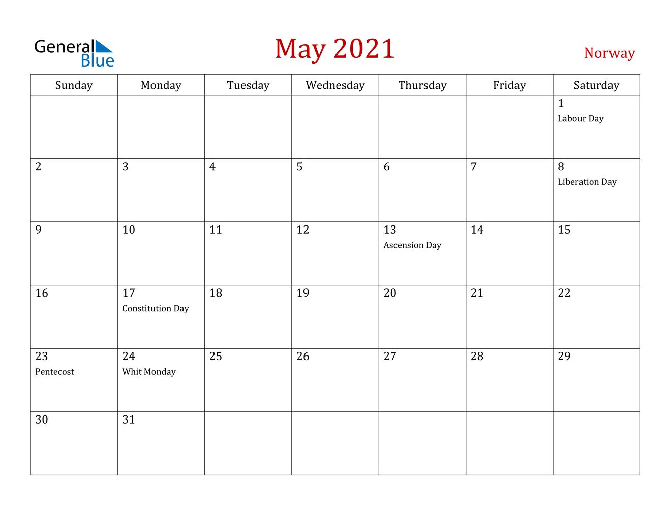 May 2021 Calendar - Norway