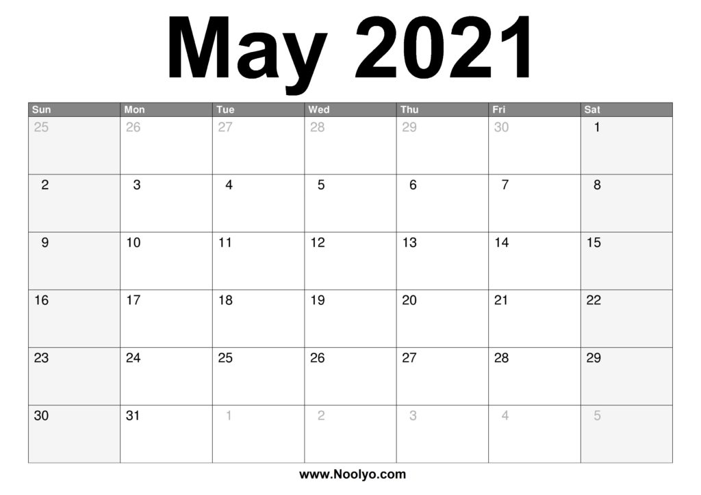 May 2021 Calendar Printable - Free Download - Noolyo