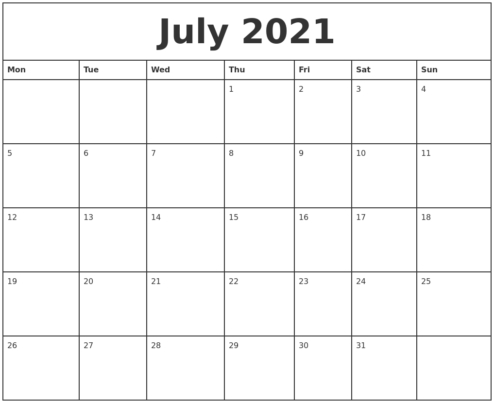 Mon To Sun Calendar June 2021 Print | Printable Calendar