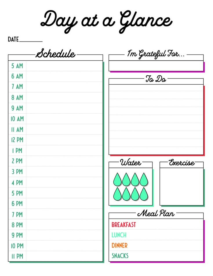 Month At A Glance + Day At A Glance Printable Planner