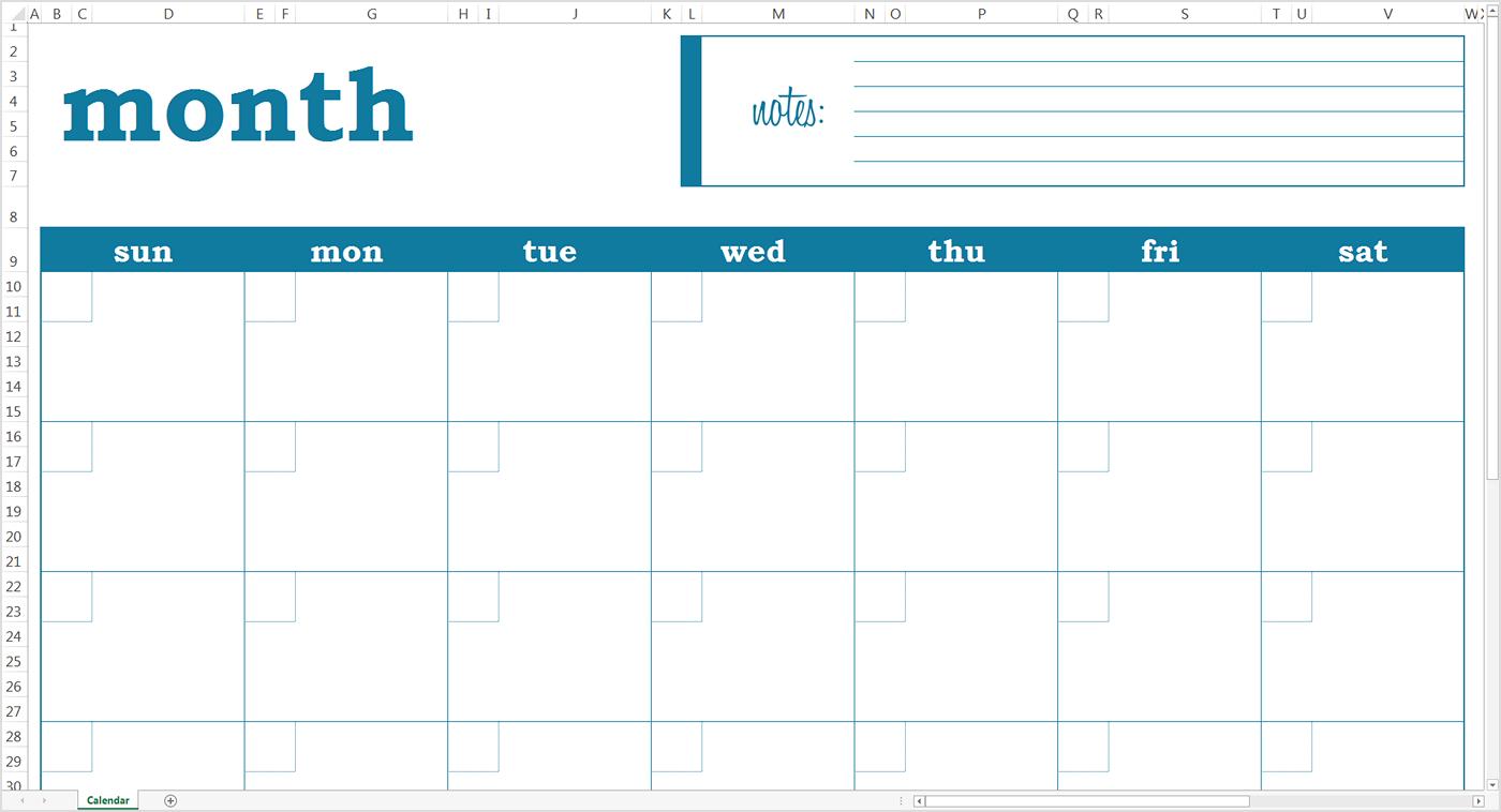 Monthly Calendar Template 2018 Google Sheet | Blank