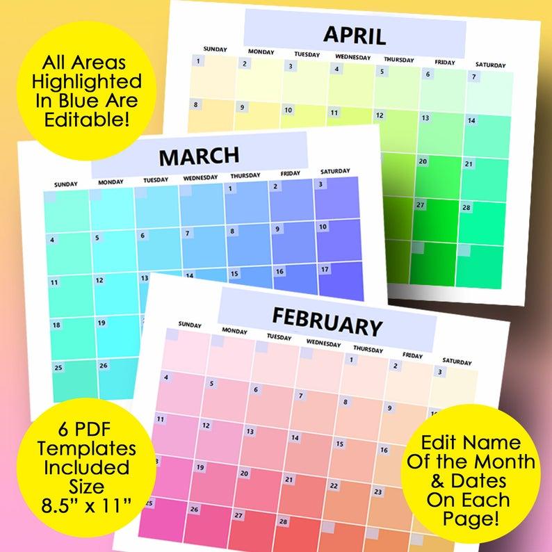 Monthly Calendar Template Editable Calendar 2021 Printable
