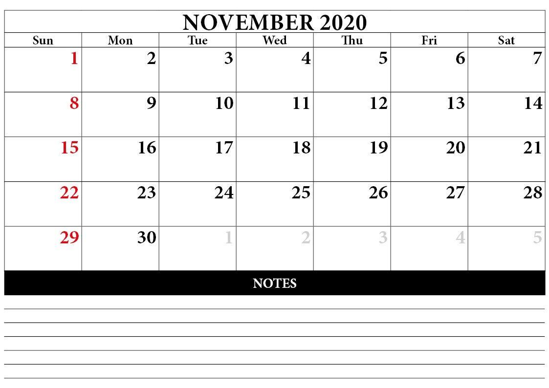 November 2020 Calendar Template In 2020 | 2020 Calendar