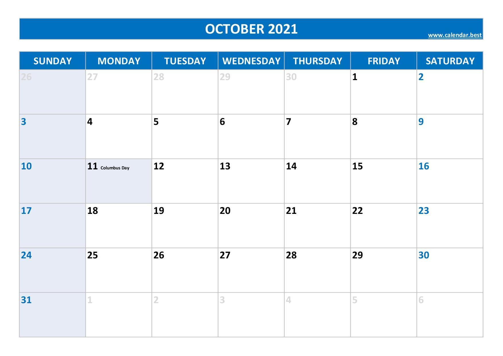 October 2021 Calendar -Calendar.best