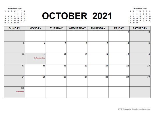 October 2021 Calendar   Calendarlabs