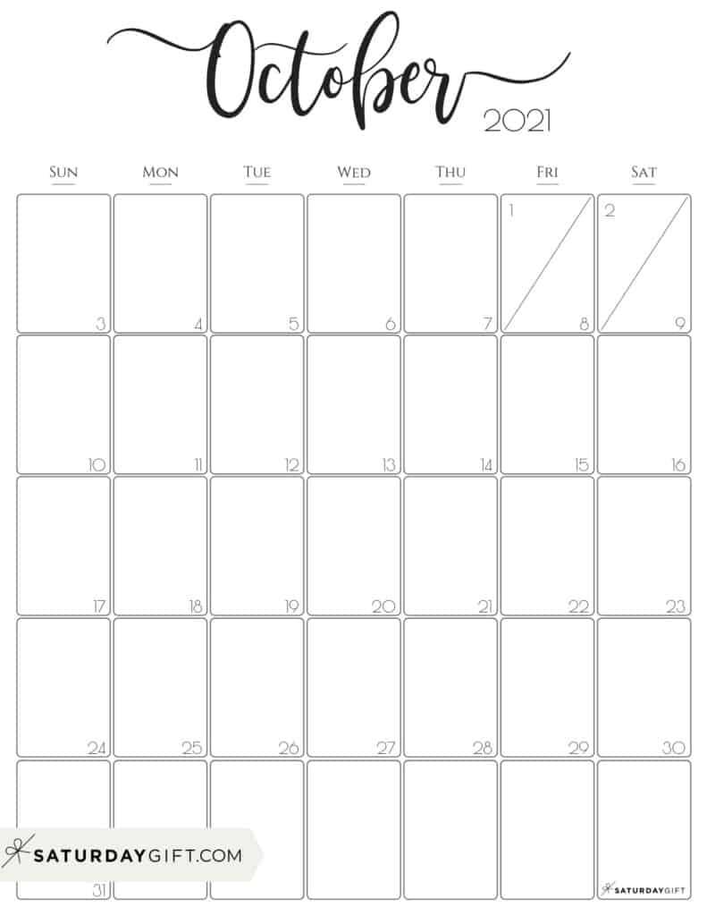 October 2021 Calendar For Kids   Month Calendar Printable