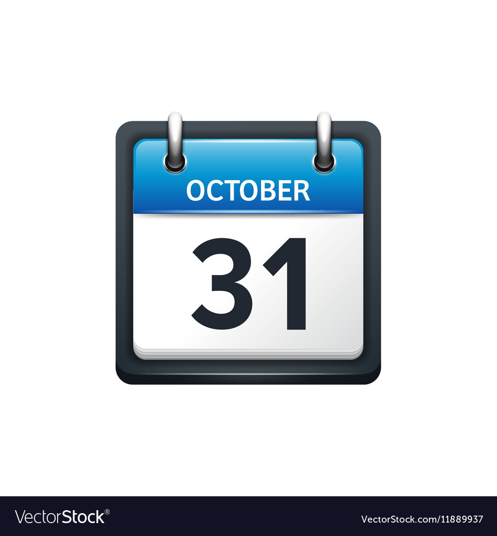 October 31 Calendar Icon Flat Royalty Free Vector Image