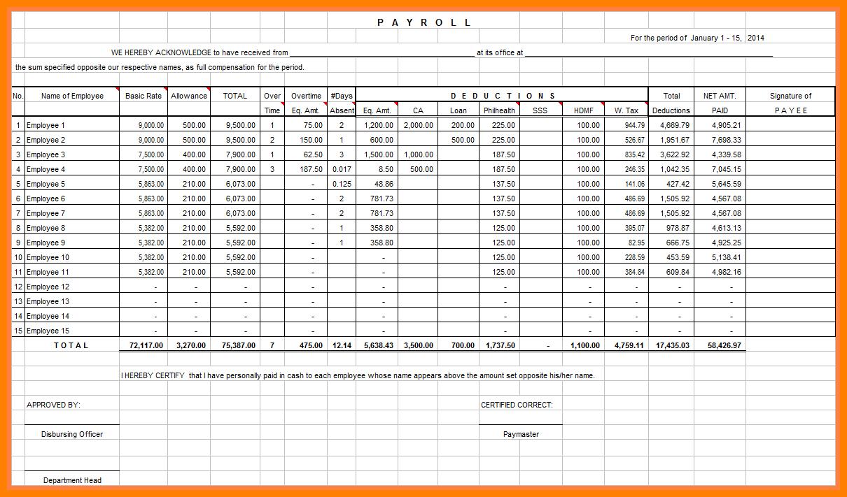 Payroll Calculator Spreadsheet Regarding Excel Spreadsheet