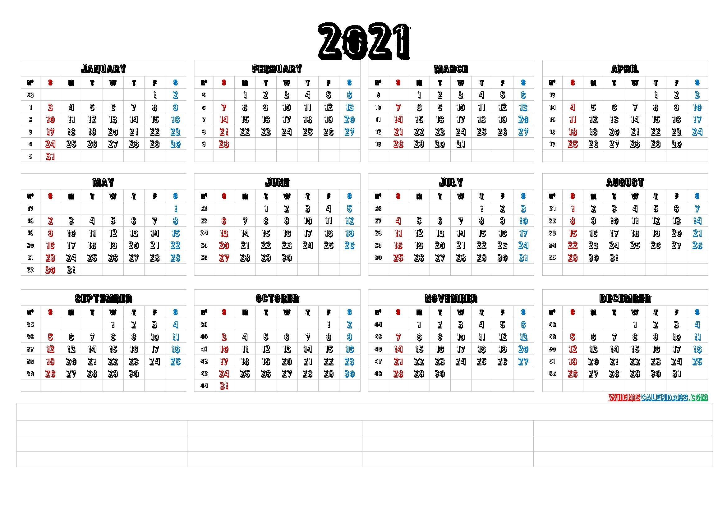 Perfect Free Printable Editable 12 Month Calendar 2021