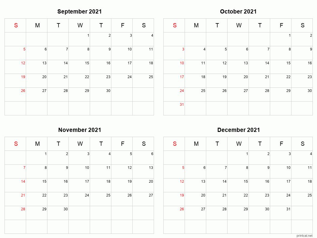 Printable 2021 Calendar - Four Months Per Page | Free