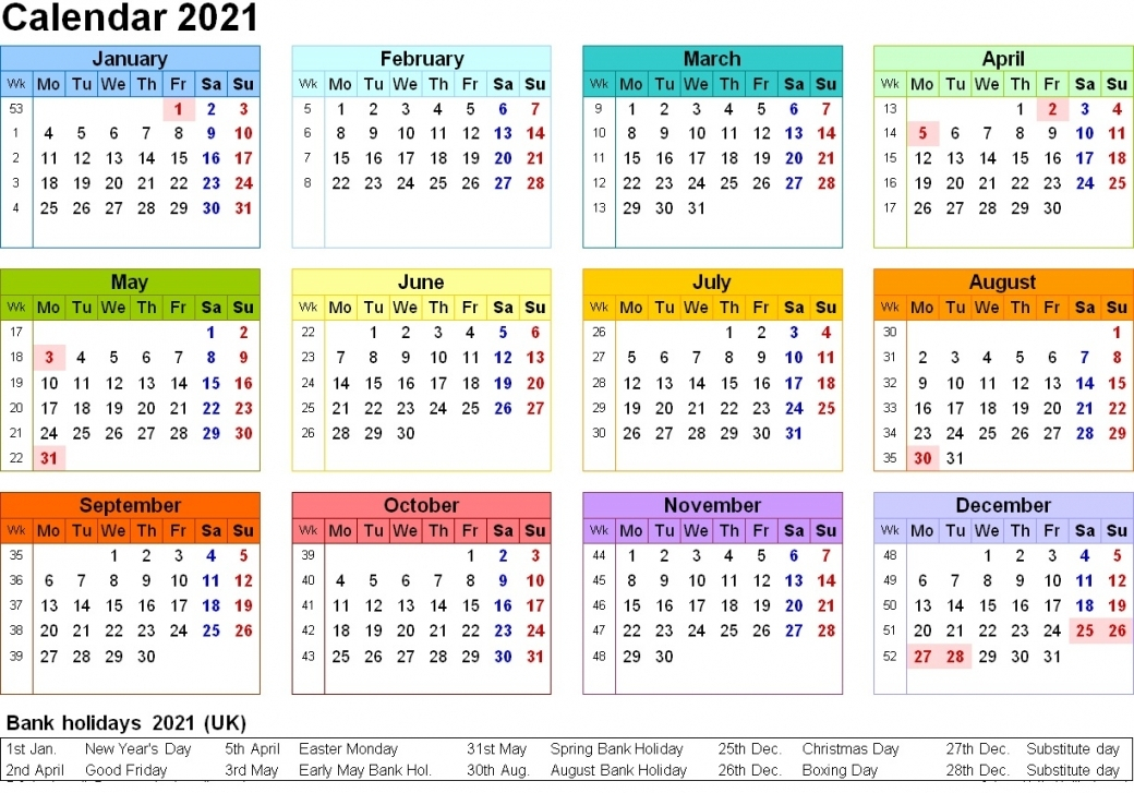 Printable 2021 Calendar Uk | Free Letter Templates