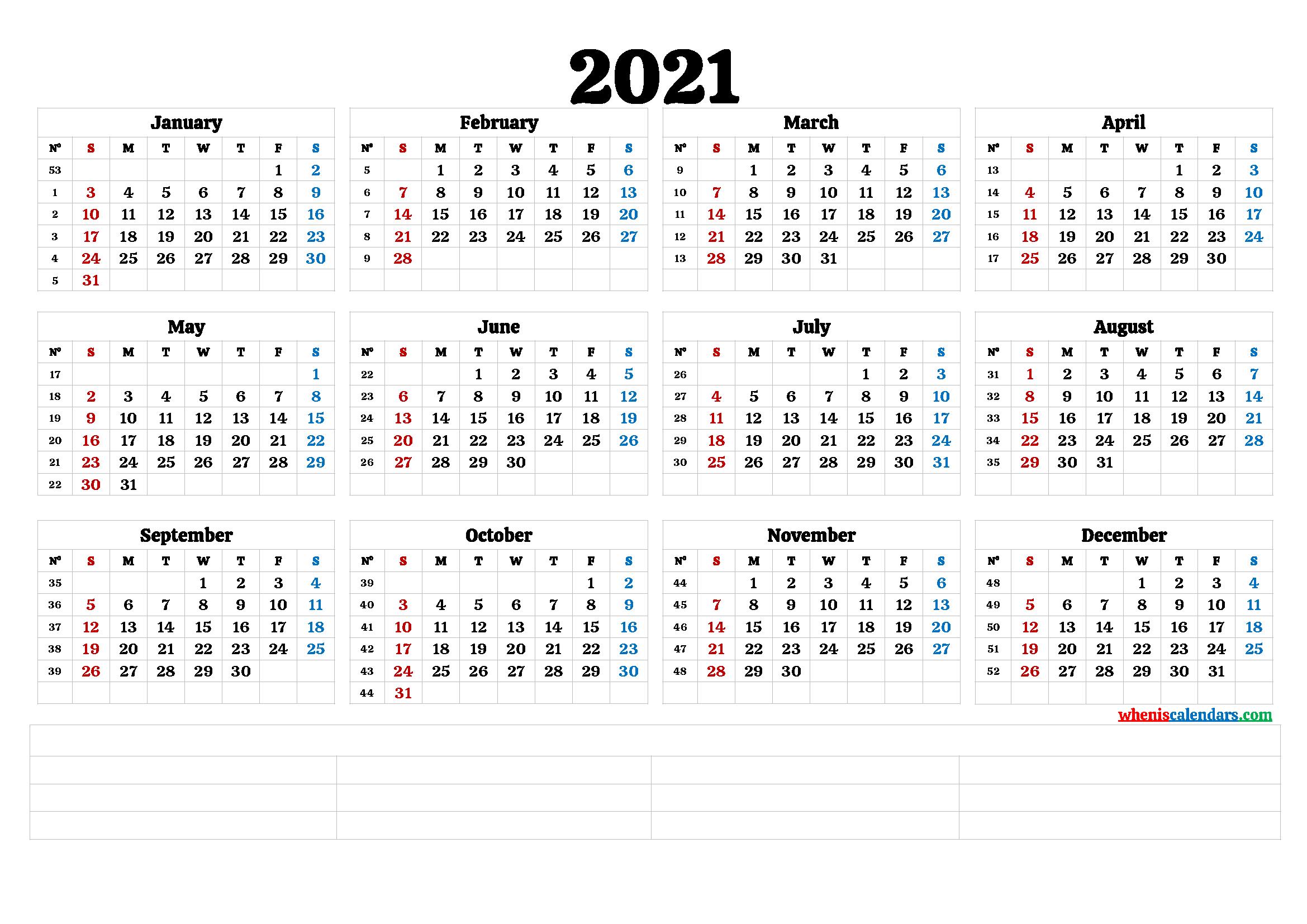 Printable 2021 Calendar With Week Numbers | Printable