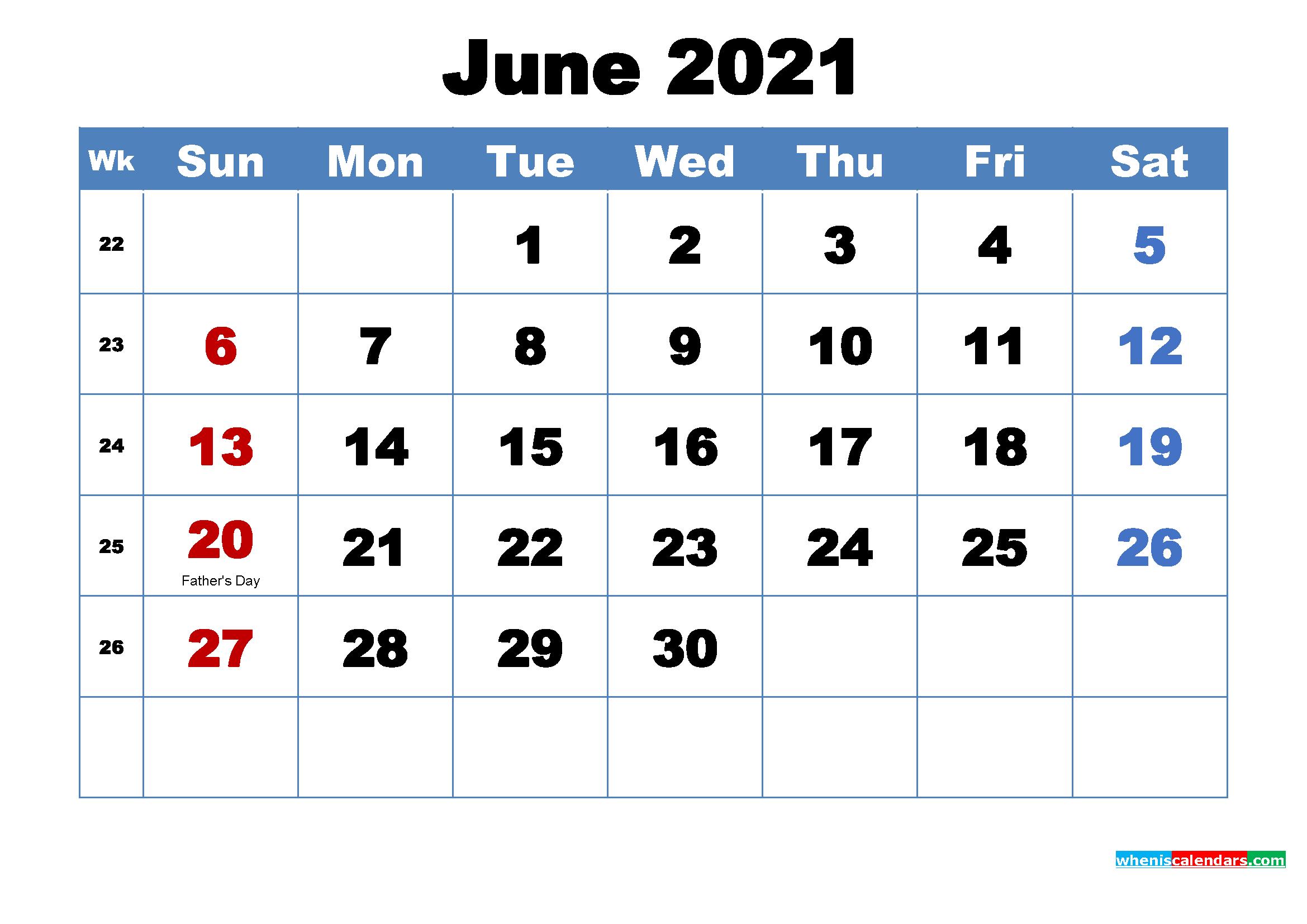 Printable 2021 Calendarmonth June