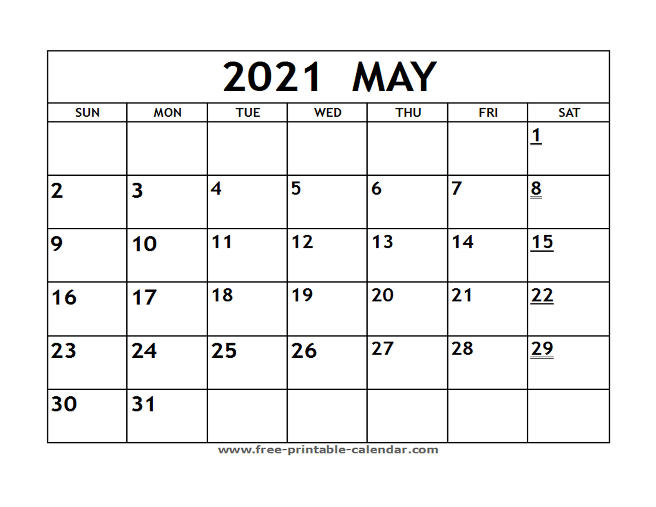 Printable 2021 May Calendar - Free-Printable-Calendar