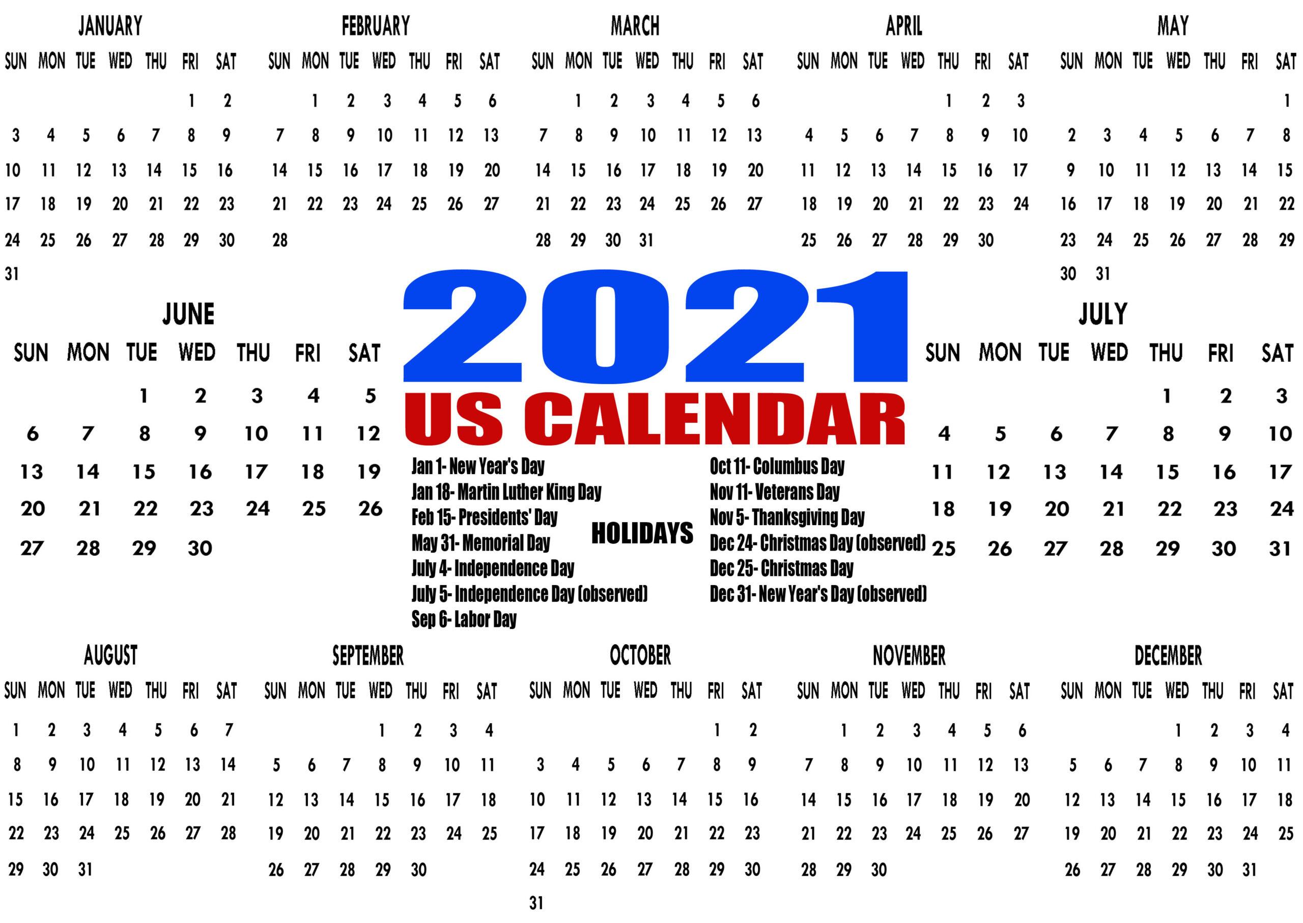 Printable 2021 Us Calendar With Holidays Federal Bank