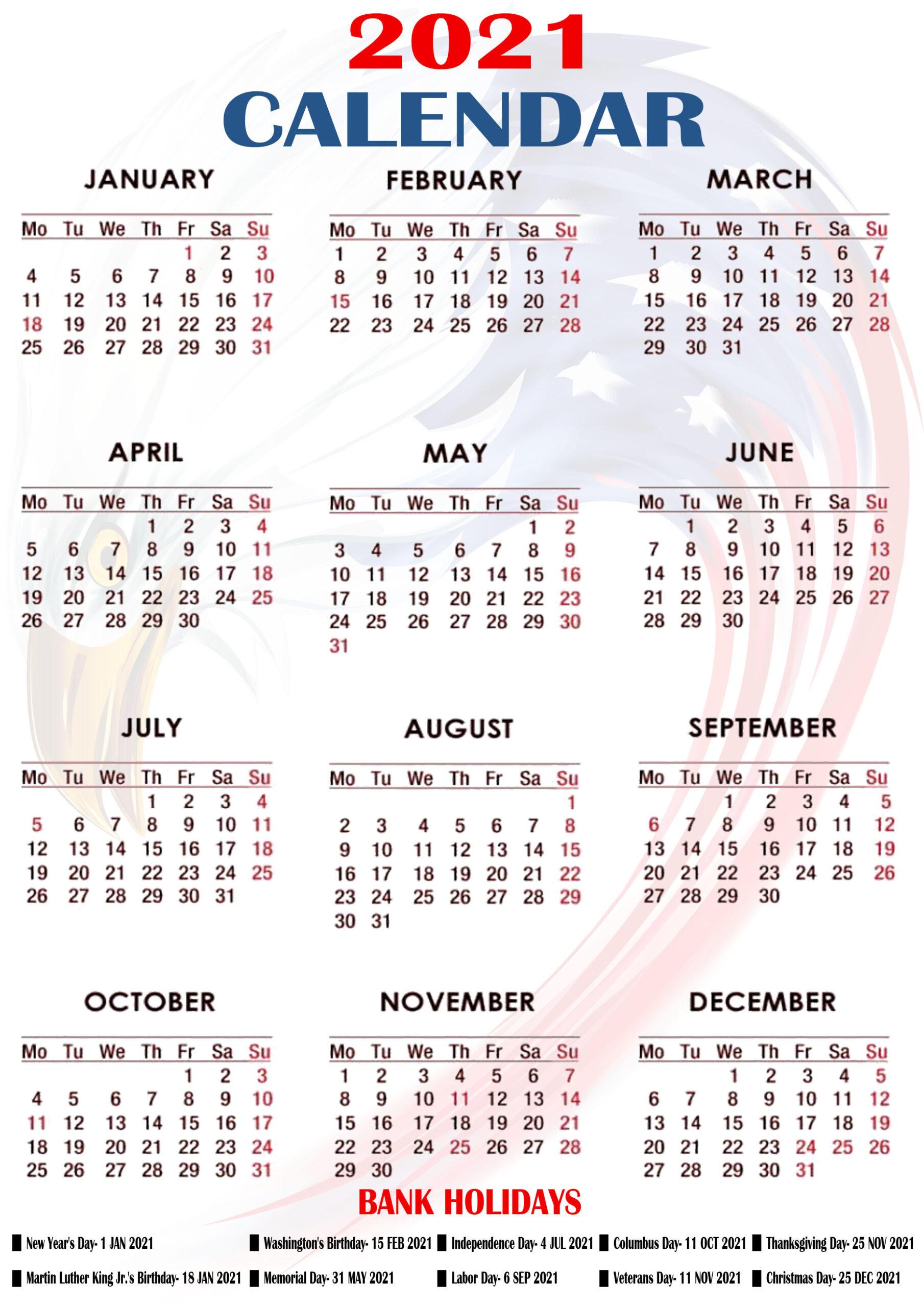 Printable 2021 Us Calendar With Holidays Federal Bank & Observation