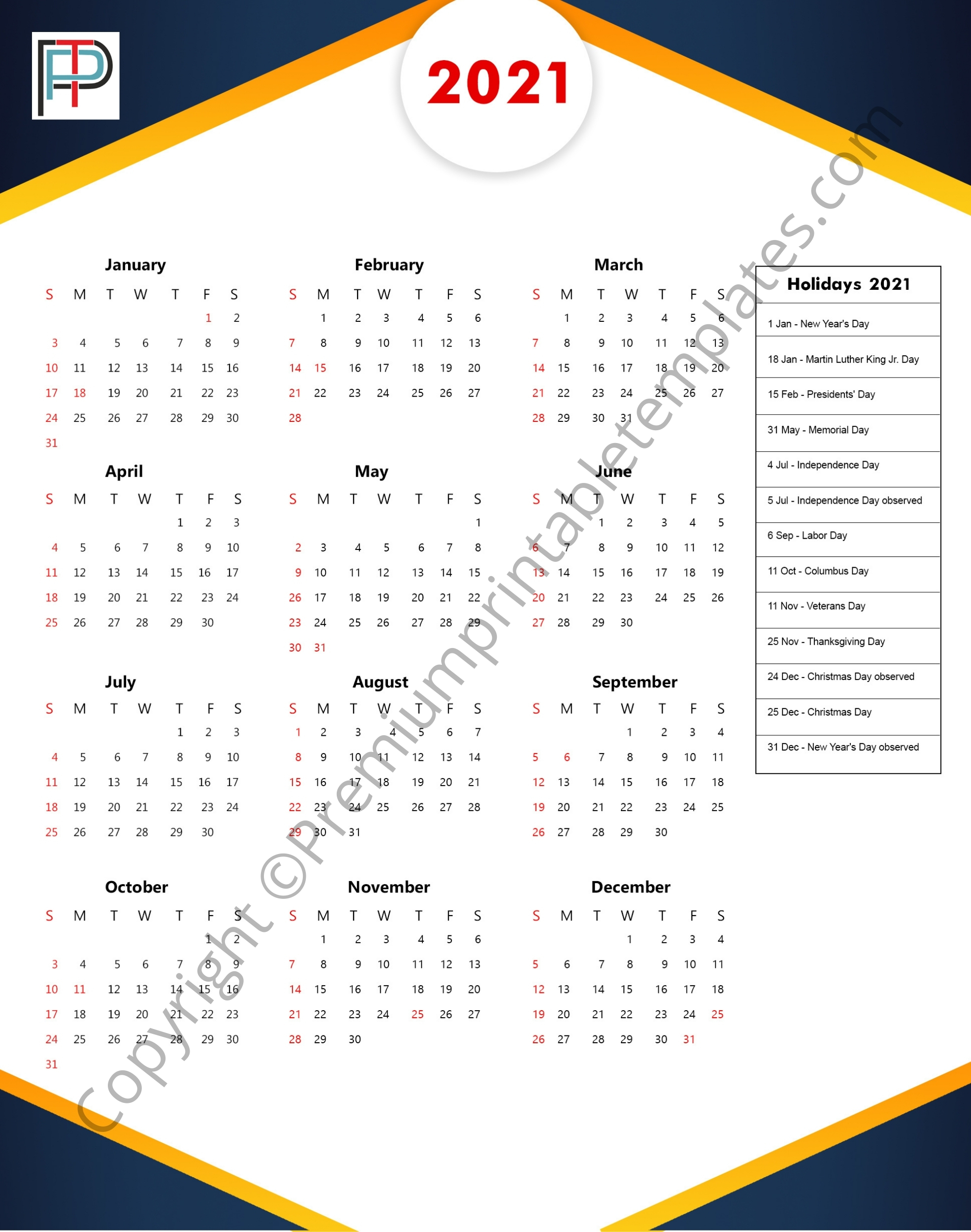 Printable 2021 Yearly Calendar With Holidays In Pdf And