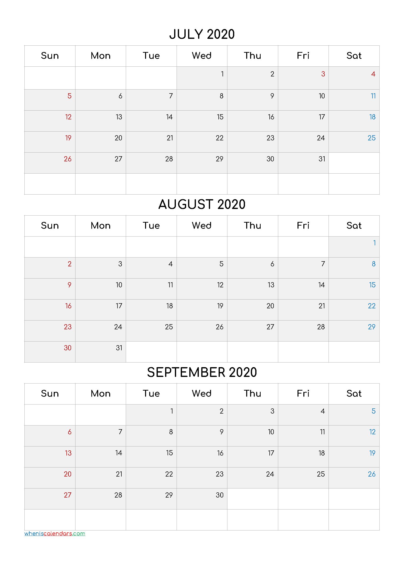 Printable 3 Month Calendar July August September 2020