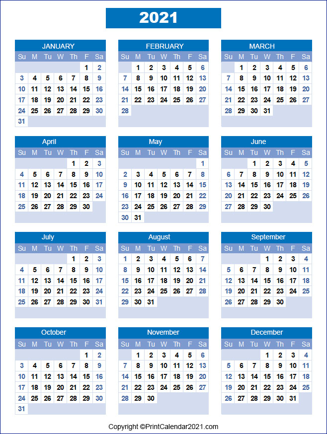 Printable 58 2021 Calendar : 2021 Calendar Free