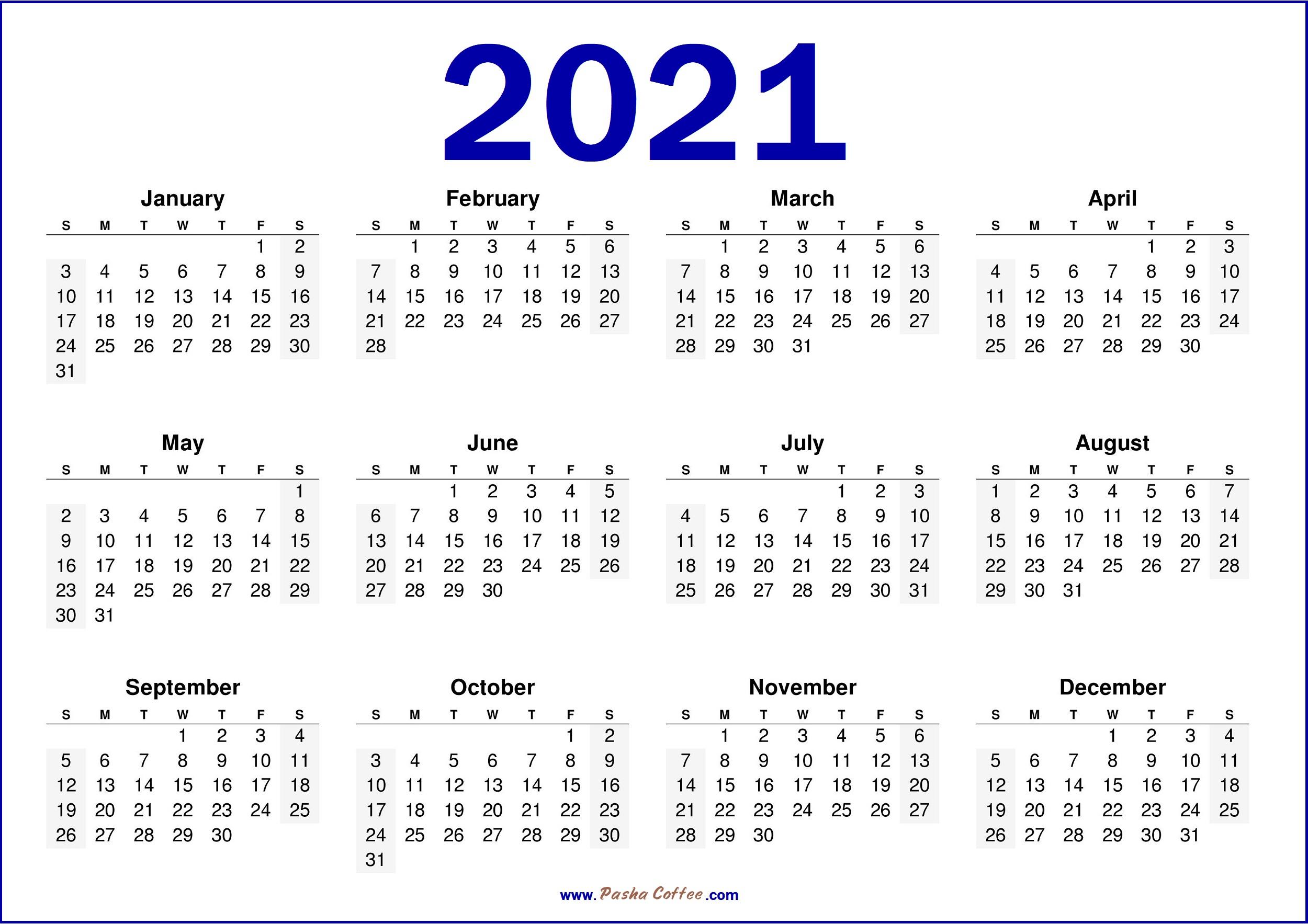 Printable 58 2021 Calendar  2021 Printable Calendar
