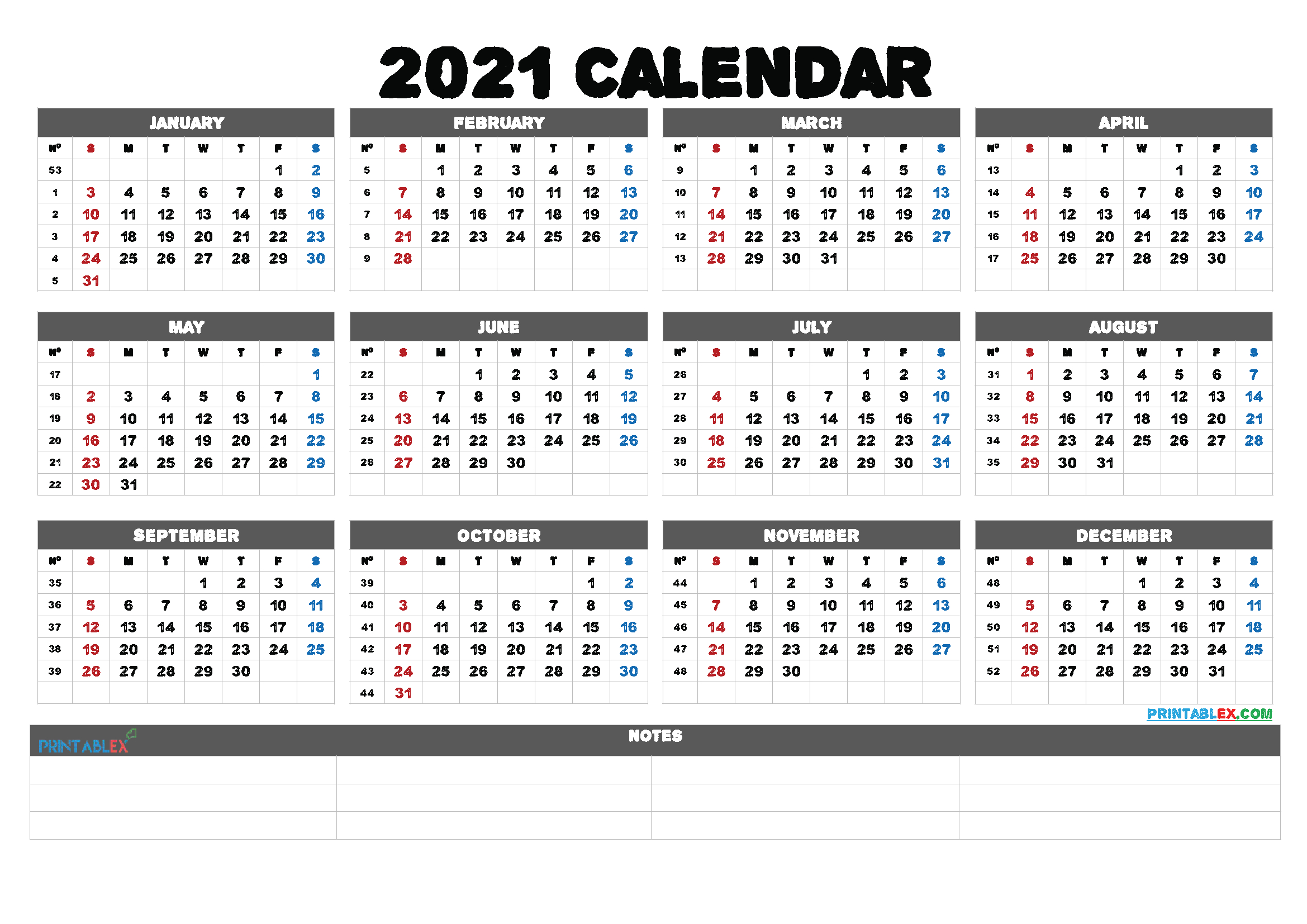 Printable 58 2021 Calendar - 8 5 X 11 Inch Bold 2021