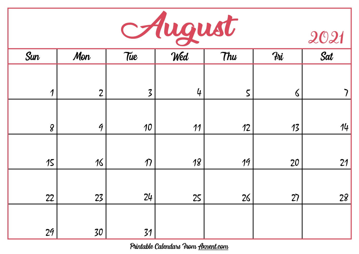 Printable August 2021 Calendar Template - Print Now