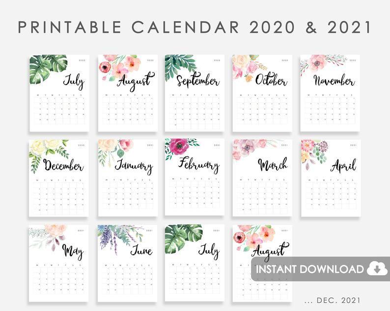 Printable Calendar 2020-2021  Calendar 2020-2021 Printable Watercolor Flowers 2020 2021