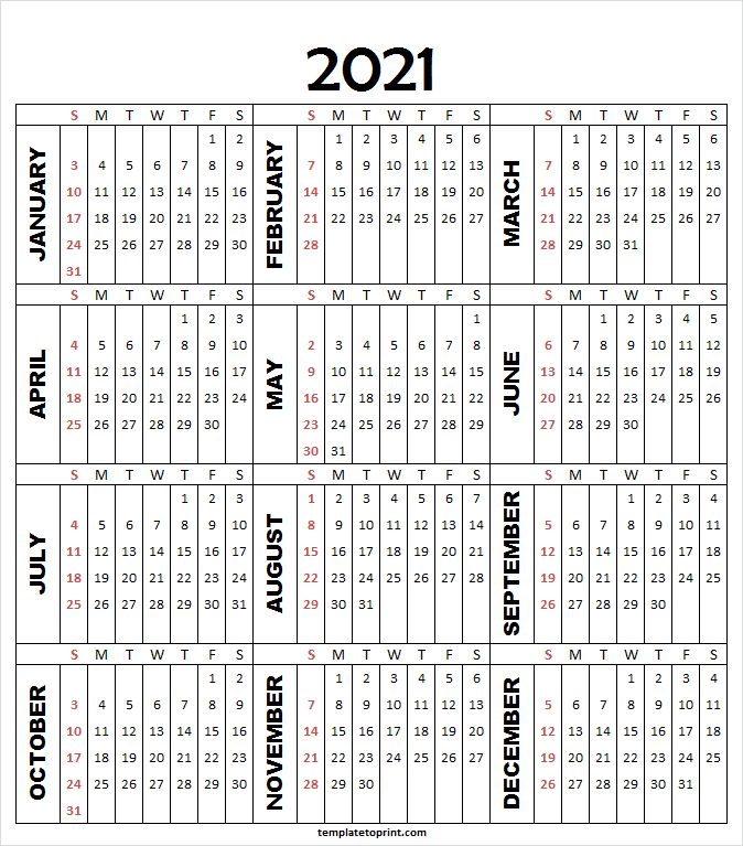 Printable Calendar 2021 A4 - 2021 Calendar Planner Printable