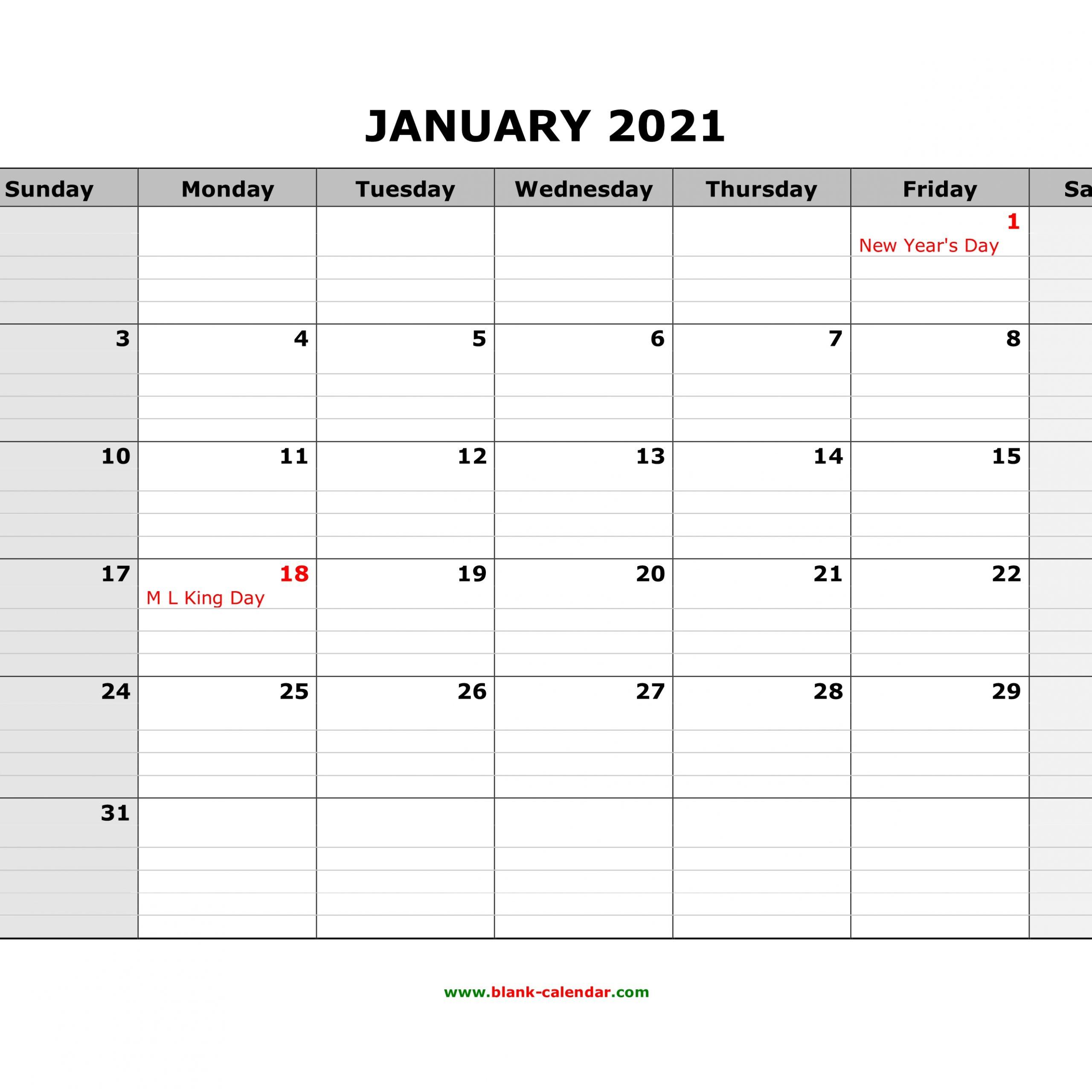 Printable Calendar 2021 Large Boxes | Free Printable Calendar 2021