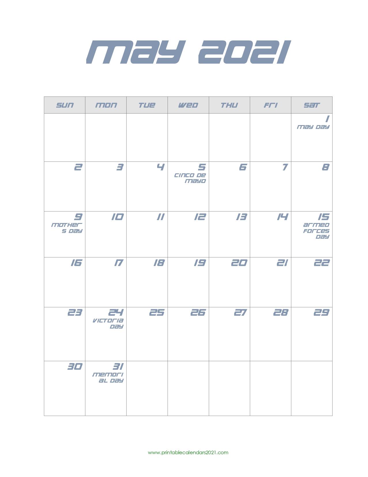 Printable Calendar 2021 May May 2021 Calendar Pdf