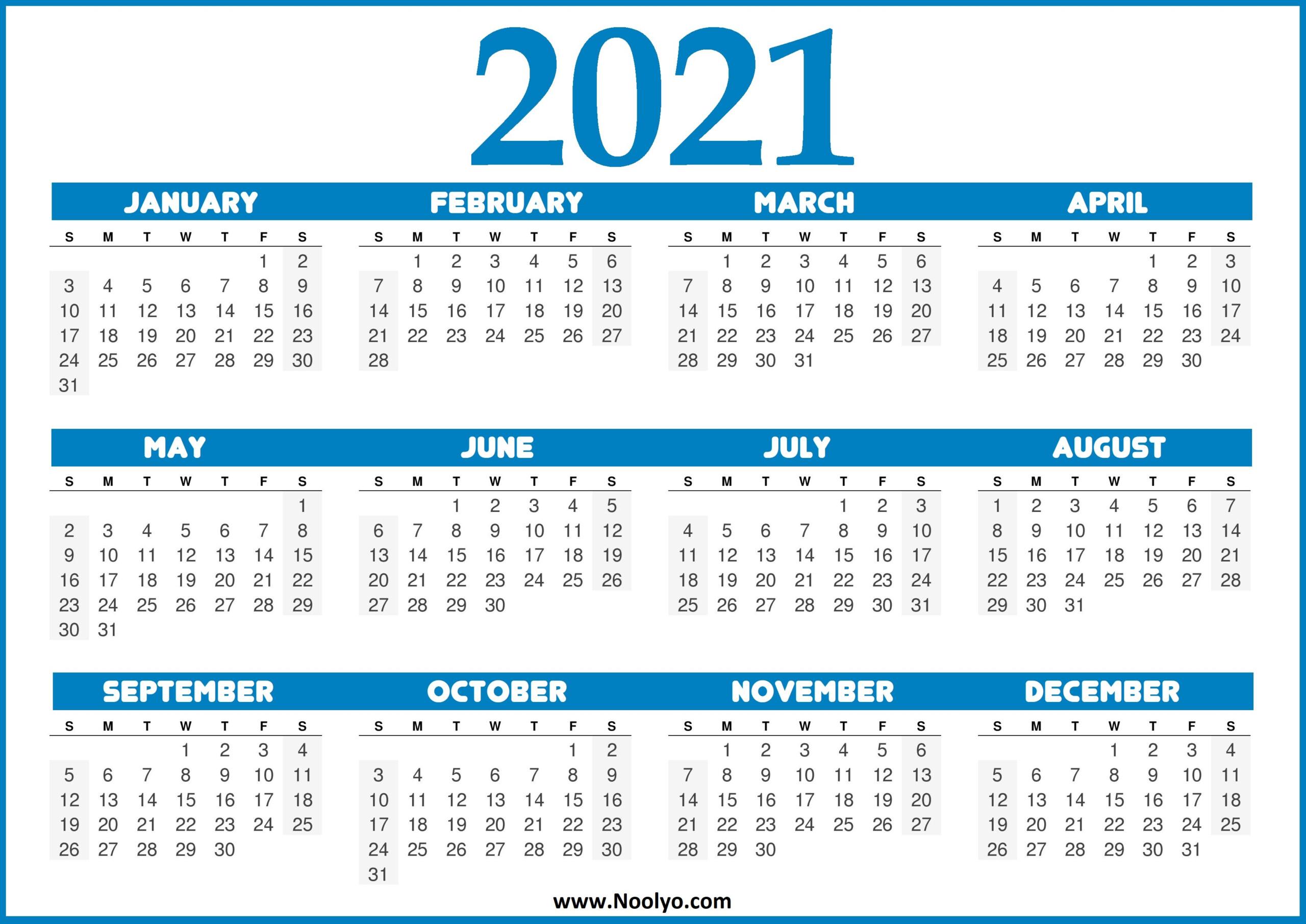 Printable Calendar 2021 United States | Free 2021
