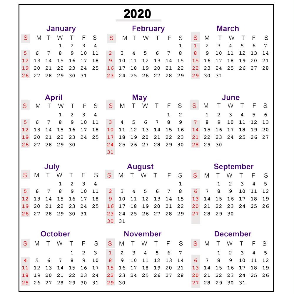 Printable Calender With Week Numbers 2020 | Example