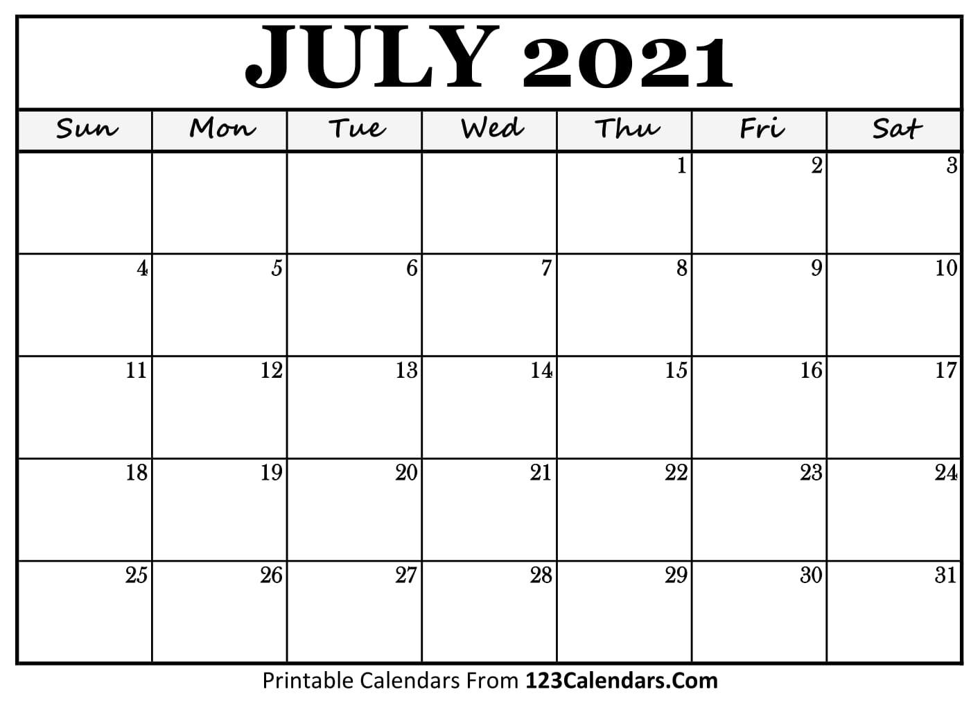 Printable July 2021 Calendar Templates | 123Calendars
