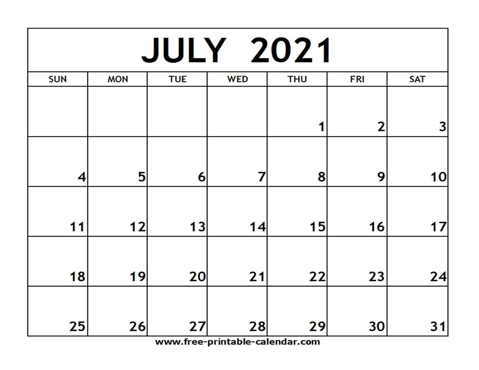 Printable July 2021 Calendar With Lines | Free Printable