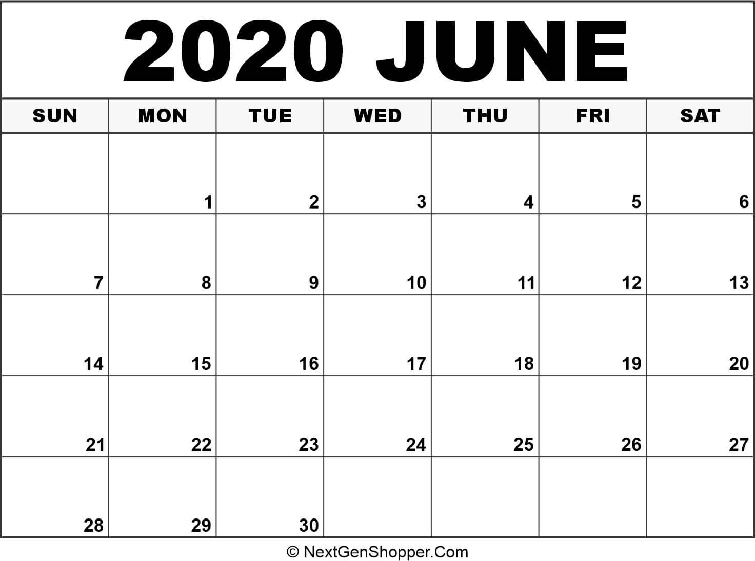 Printable June 2020 Calendar Template - Task Management Guide