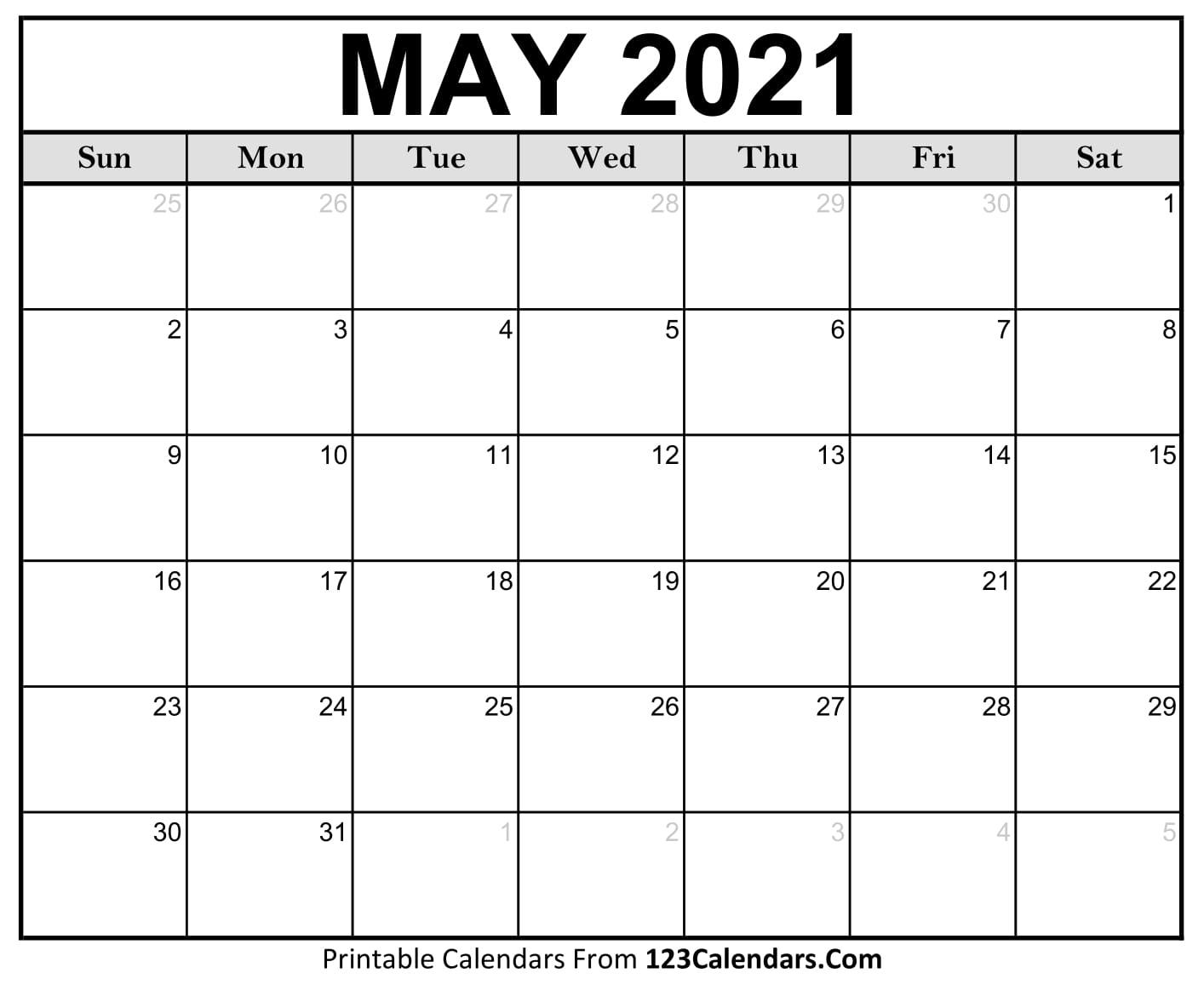 Printable May 2021 Calendar Templates | 123Calendars