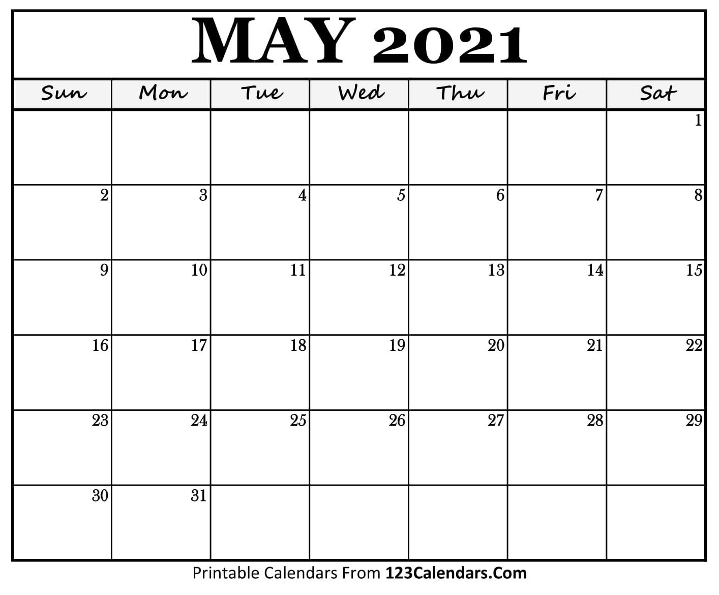 Printable May 2021 Calendar Templates   123Calendars
