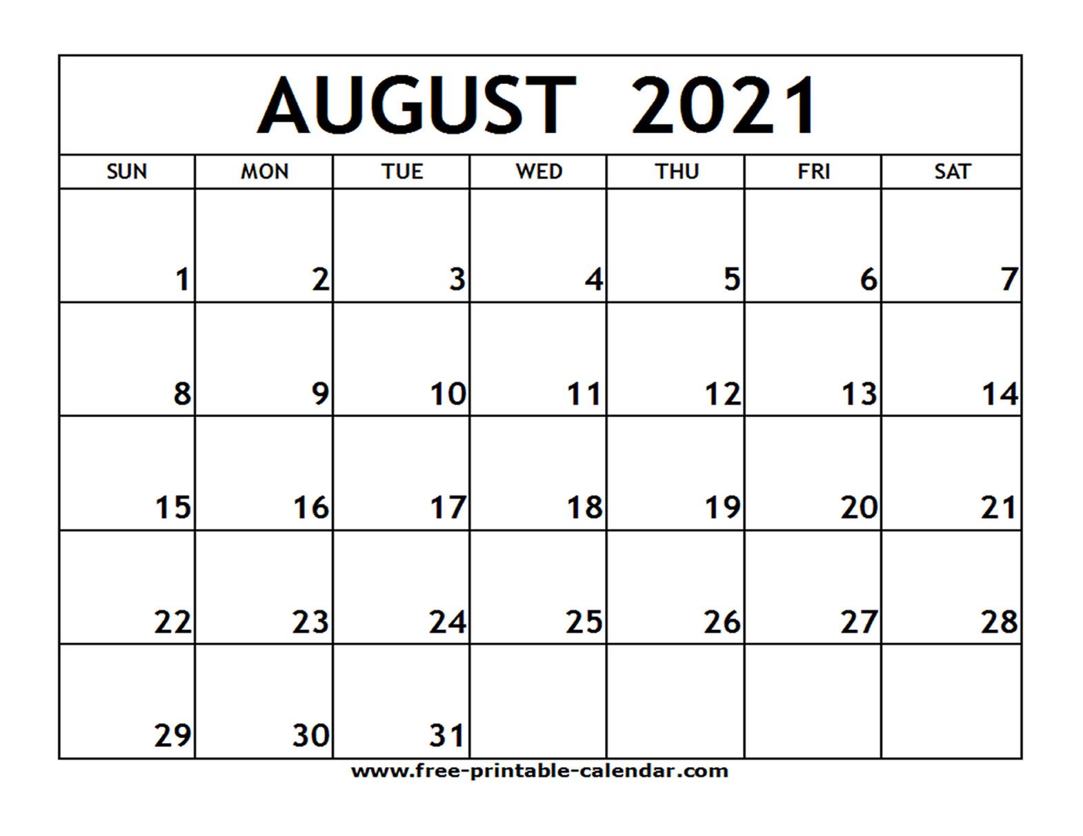 Printable Monthly Calendar August 2021 | Free 2021 Printable Calendars